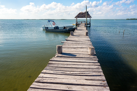 Old rustic pier in Punta Allen in the Sian Kaan Biosphere Reserve near Tulum, Mexico