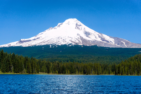 View of Trillium Lake and Mt Hood in Oregon Stock Photo