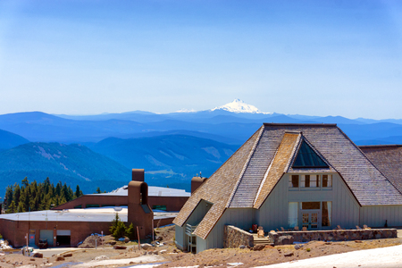 TIMBERLINE LODGE, MAY 8: Timberline Lodge in Oregon on Mt Hood with Mt Jefferson visible in the background on May 8, 2015 Editorial