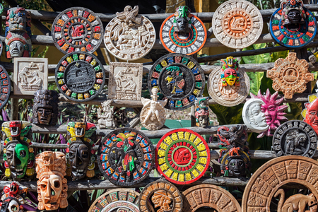 VALLADOLID, MEXICO - FEBRUARY 12: Souvenirs for sale outside the ruins of Ek Balam near Valladolid, Mexico on February 12, 2017 Editorial