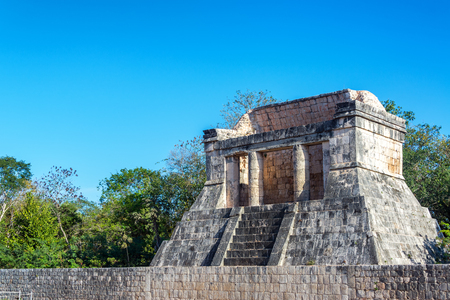 View of the temple of the bearded man in the Mayan ruins of Chichen Itza in Mexico