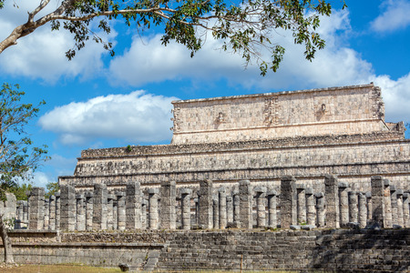 Plaza of the Thousand Columns with a nice looking sky in the ruins of Chichen Itza, Mexico