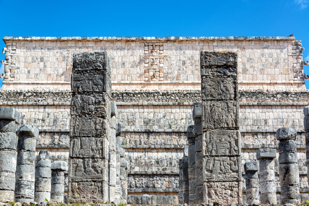 Plaza of the Thousand Columns in the ruined Mayan city of Chichen Itza in Mexico