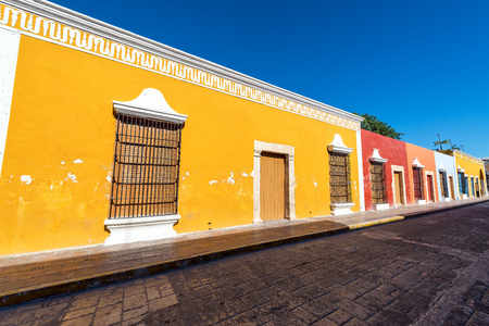 yucatan: Colorful row of colonial buildings in the UNESCO World Heritage city center of Campeche, Mexcio
