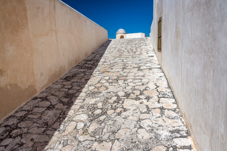 Ramp leading up to a fort in the colonial city of Campeche, Mexico