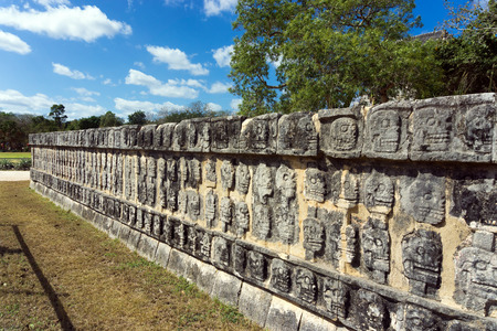 Platform of the skulls in the ruins of Chichen Itza, Mexico