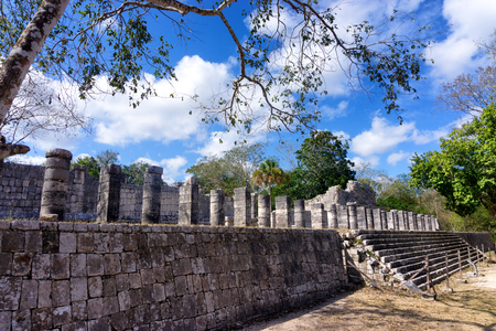 View of the temple of a thousand warriors in the ancient Mayan ruins of Chichen Itza in Mexico Stock Photo