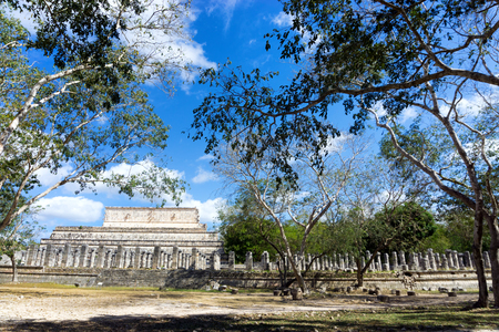 View of the temple of a thousand warriors in the ruins of Chichen Itza in Mexico Stock Photo