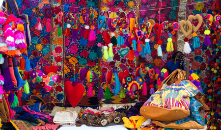 keychains: OAXACA, MEXICO - MARCH 4: Colorful souvenirs for sale in a market in Oaxaca, Mexico on March 4, 2017 Editorial