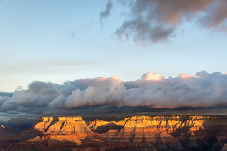 Beautiful golden early morning light at the Grand Canyon