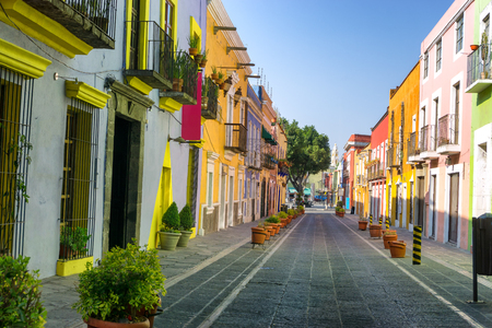 Colorful colonial street in downtown, Puebla, Mexico