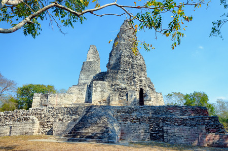 architecture monumental: Xpujil archaeological area in the Yucan peninsula in Mexico