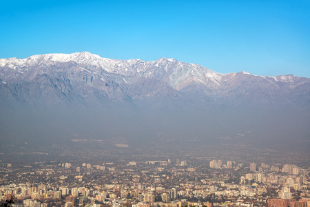 cristobal: View of Santiago, Chile with the Andes mountains towering high above Stock Photo