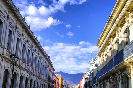 Beautiful colorful colonial buildings in the historic center of Oaxaca, Mexico