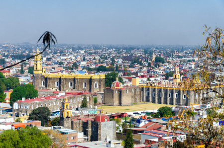 High angle view of Cholula, Mexico cityscape