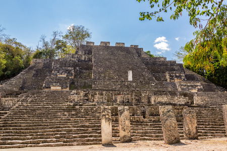 calakmul: View of pyramid known as structure two in the Mayan ruins of Calakmul, Mexico