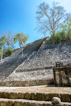 calakmul: View of the pyramid known as Structure One in the Mayan ruins of Calakmul, Mexico