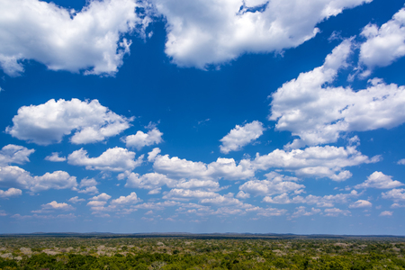 calakmul: Jungle landscape and beautiful sky as seen from the Mayan ruins of Calakmul, Mexico Stock Photo
