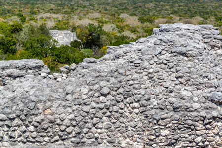calakmul: Mayan ruins of Calakmul, Mexico with Structure Two and Seven visible with the jungle