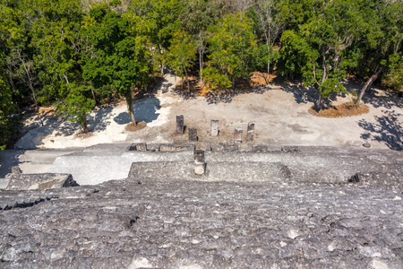 calakmul: Looking down from pyramid known as structure two in the Mayan ruins of Calakmul, Mexico Stock Photo