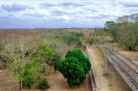 Aerial view of the archeological area in Uxmal, Mexico