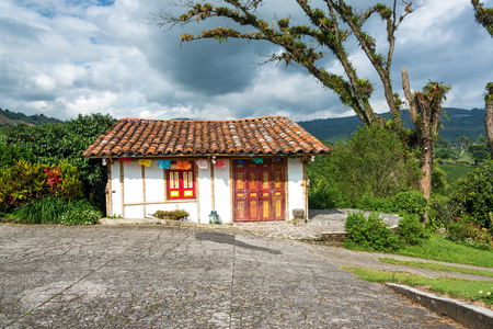 Small colonial style building on a coffee plantation near Manizales, Colombia