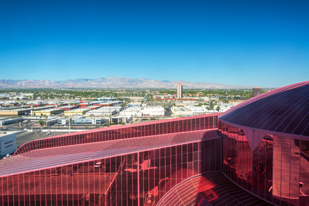 LAS VEGAS - SEPTEMBER 17: Roof of Circus Circus casino and cityscape in Las Vegas on September 17, 2015 Editorial