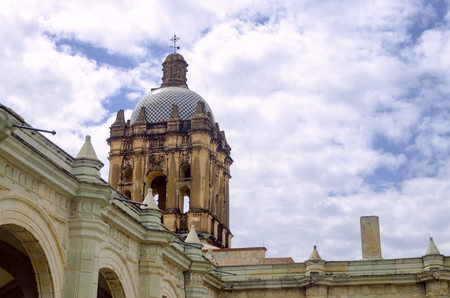 View of the roof and tower of the Santo Domingo monastery in Oaxaca, Mexico