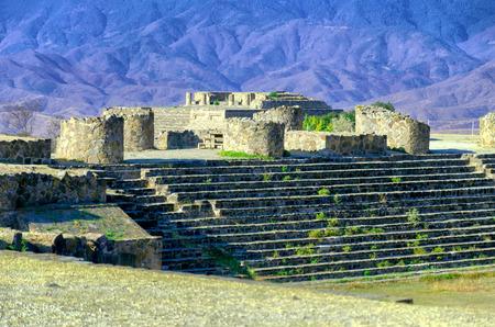 the sunken: Monte Alban Sunken Patio ruins in Oaxaca, Mexico Stock Photo