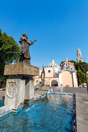 colonial church: Statue outside of Guadalupe church in Puebla, Mexico Editorial