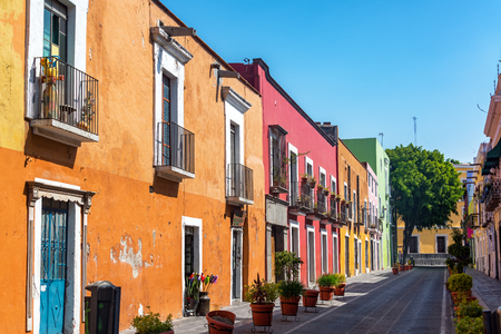 Beautiful colorful colonial street in the historic center of Puebla, Mexico