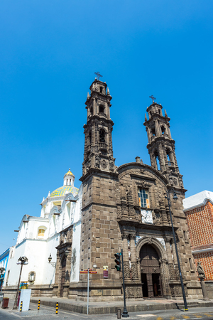 cristobal: View of the historic San Cristobal church in the colonial center of Puebla, Mexico