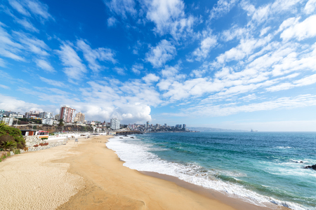 View of the beach in the coastal city of Vina del Mar, Chile Stock Photo
