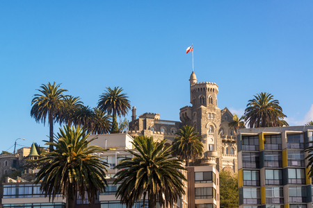 View of Brunet Castle and palm trees in Vina del Mar, Chile