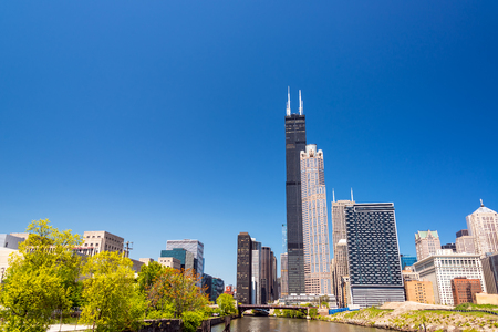 View of skyscrapers in Chicago including Sears Tower