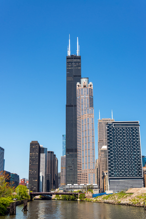 Vertical view of skyscrapers in Chicago including Sears Tower