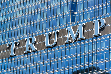 CHICAGO - MAY 12: Sign on Trump Tower in Chicago on May 12, 2017