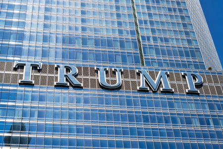 CHICAGO - MAY 12: Trump sign on Trump Tower in downtown Chicago on May 12, 2017