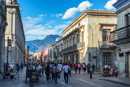OAXACA, MEXICO - MARCH 4: Busy pedestrian street in the historic center of Oaxaca, Mexico on March 4, 2017