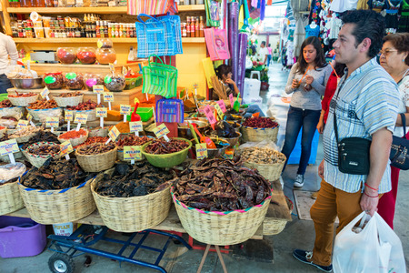 OAXACA, MEXICO - MARCH 5: Shoppers in a typical market in Oaxaca, Mexico on March 5, 2017