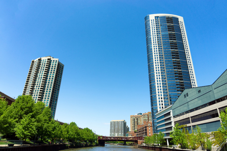 View of apartment buildings as seen from the Chicago River in Chicago