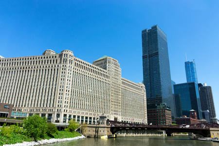 CHICAGO - MAY 12: Merchandise Mart and skyscrapers in downtown Chicago on May 12, 2017