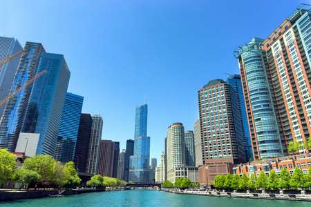 CHICAGO, MAY 12: View of skyscrapers, including Trump Tower on the Chicago River in Chicago on May 12, 2017
