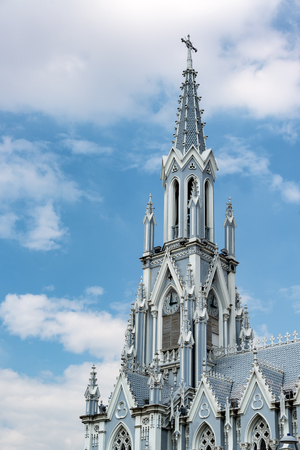 Vertical view of the spire of La Ermita church in Cali, Colombia