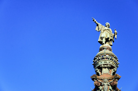 Closeup of the top of  Christopher Columbus monument in Barcelona, Spain 写真素材