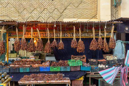 TOZEUR, TUNISIA - APRIL 11: Stand selling dates in Tozeur, Tunisia on April 11, 2018