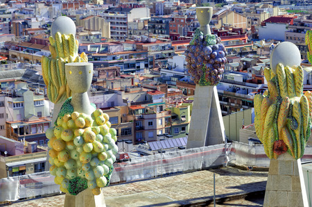 Sculptures on the roof of the Sagrada Familia cathedral in Barcelona, Spain.