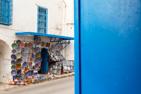 Souvenirs for sale in the historic blue and white town of Sidi Bou Said, Tunisia