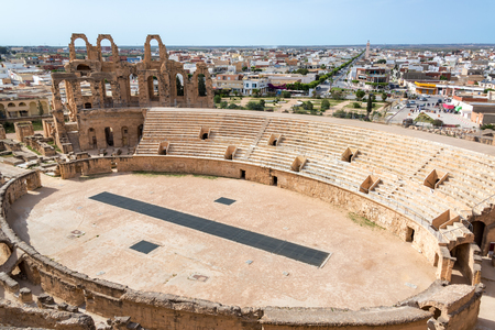 High angle view of the ancient amphitheater of El Jem in Tunisia Zdjęcie Seryjne