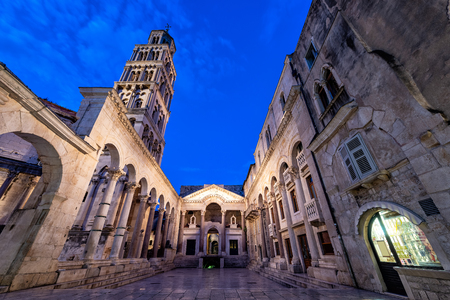 Peristyle in Diocletian's Palace during the blue hour in Split, Croatia Stock Photo